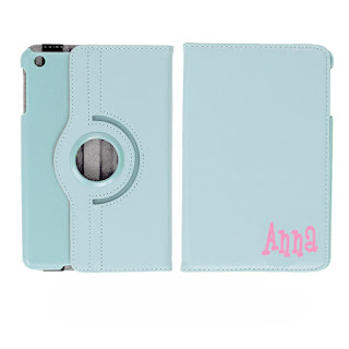 White Background of Ipad Cover with Initials