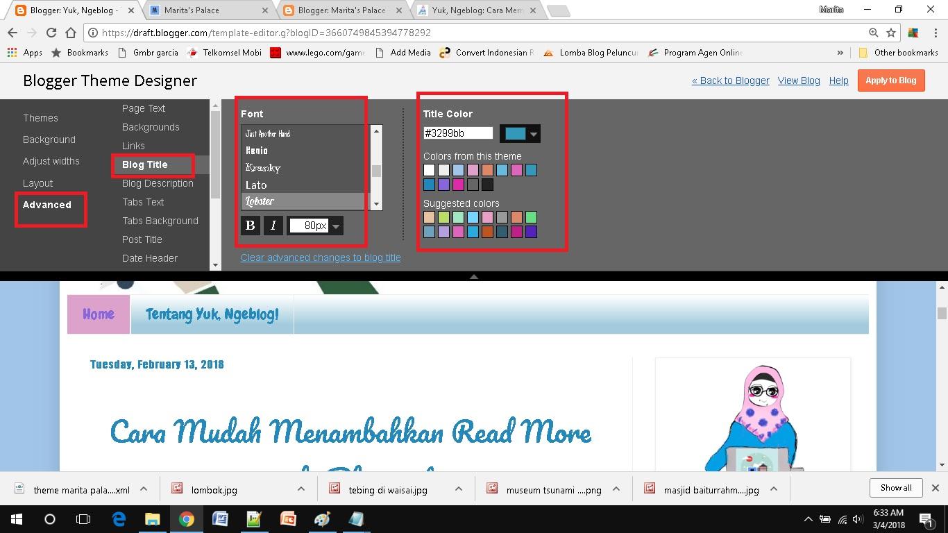mendesain template blog sederhana pilih warna judul