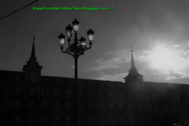 Black and white, Plaza Mayor, Madrid, Spain