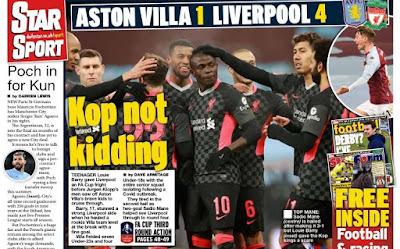 رباعية ليفربول ضد الفيلانز وضغط بروس لإيقاف الموسم الأبرز فى صحف إنجلترا