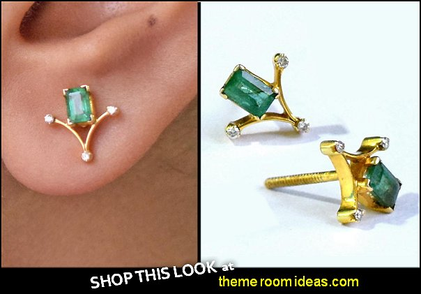 Emerald Baguette Gemstone Diamond Stud Earrings 18K Yellow Gold  Studs womens Jewelry