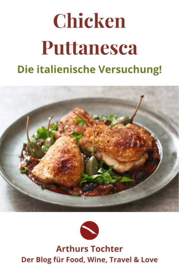 """Rezept für Hähnchen mit Puttanesca-Sauce, die italienische Versuchung! Würzig und kraftvoll mit viel Umami, eine Huldigung """"nach Art der Huren"""". #rezept #spaghetti #pasta #spaghetti_alla #recipe #chicken #sugo #hähnchen #hähnchenkeule #italienisch #tomatensauce #sardellen #kapern #oliven #jamie_oliver #nytimes"""