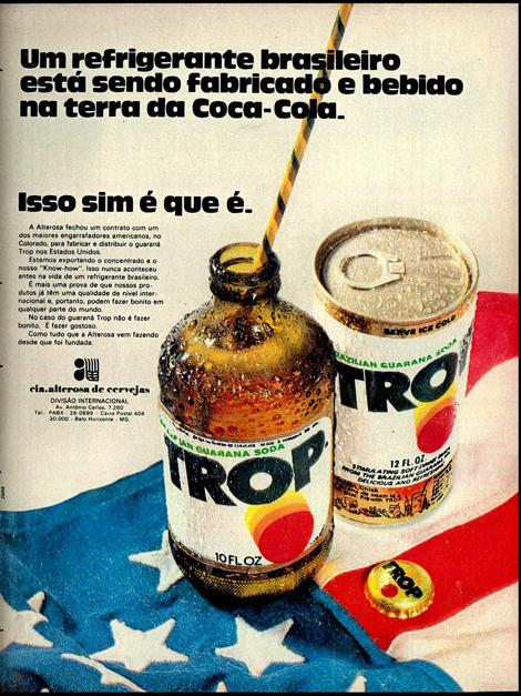 Propaganda antiga do Refrigerante Trop apresentada em 1972