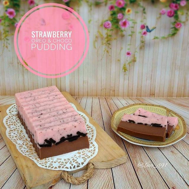 Resep dan cara membuat puding strawberry Oreo dan Choco