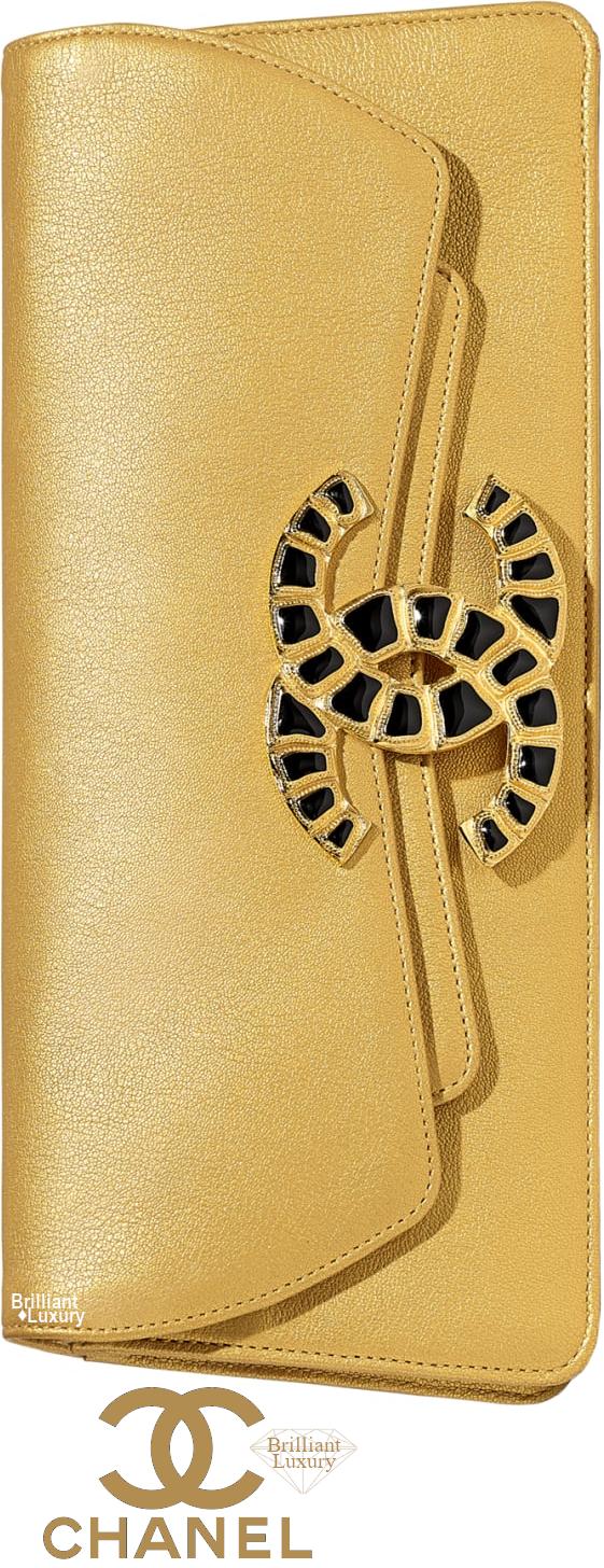 Brilliant Luxury♦Chanel Metallic Lambskin Evening Clutch #gold