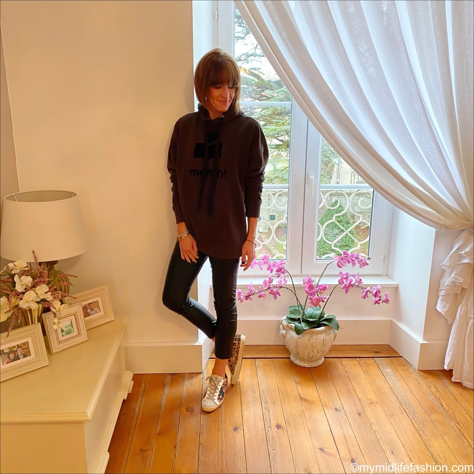 my midlife fashion, Isabel Marant Etoile hooded sweatshirt, Isabel Marant Etoile faux leather trousers, golden goose superstar low top leather leopard print trainers