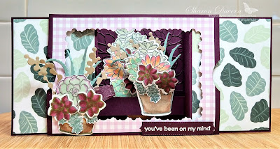 Rhapsody in craft, Blackberry Bliss, Simply Succulents, Potted Succulents Dies, fancy fold, 3D Stage Card, Pansy Petals DSPThinking of you, Friendship Card,  Heat Embossed, #colourcreationsbloghop, Stampin' Up!, Annual Catalogue 2021-22