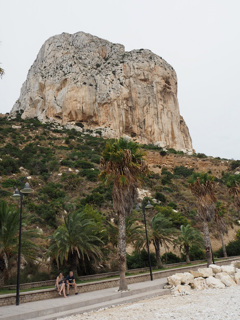Looking up to Penon de Ifach from sea level