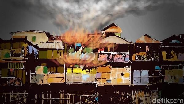 Kebakaran di Jalan Simprug Golf Jaksel, 20 Unit Damkar Diturunkan