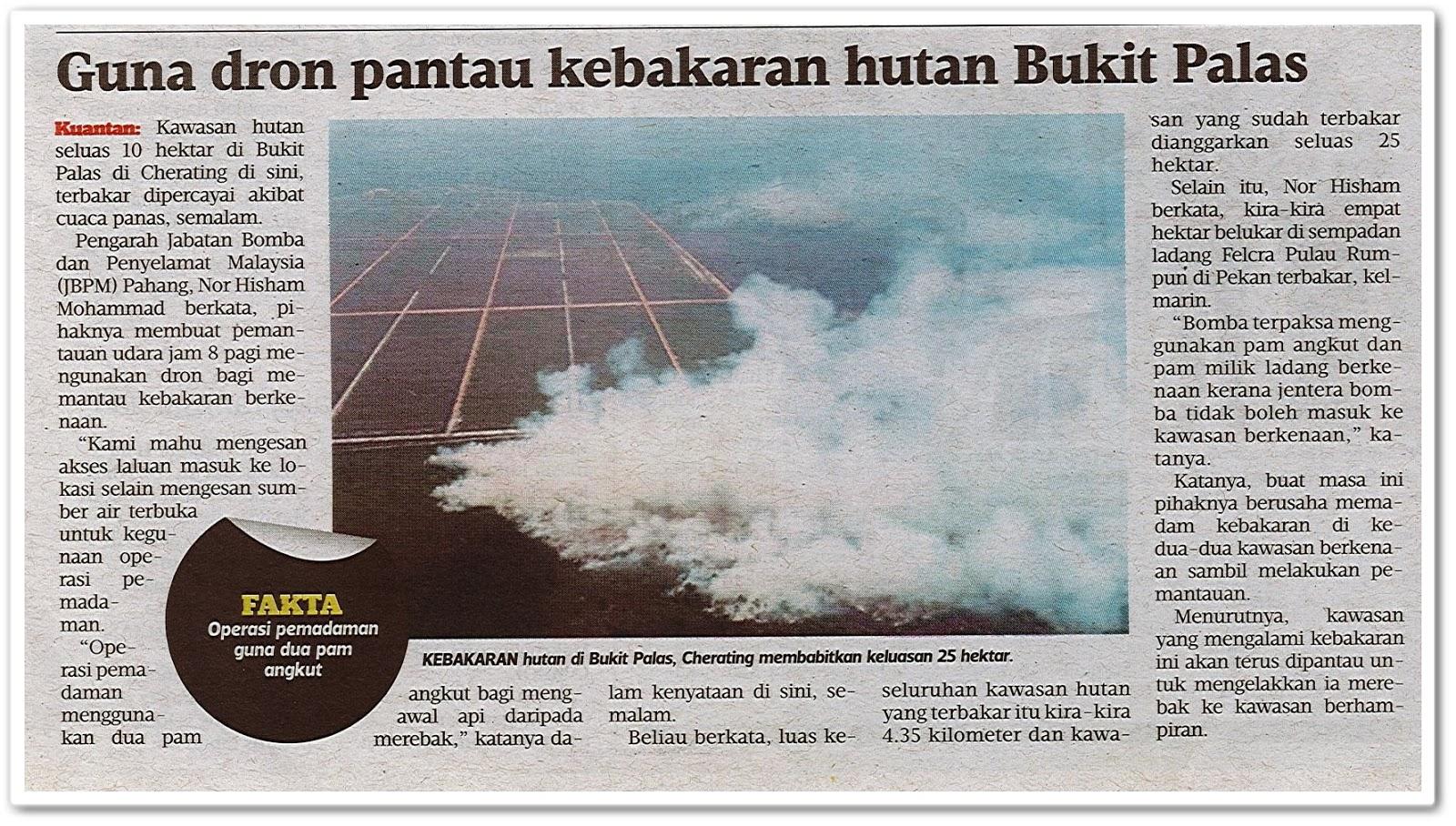 Guna dron pantau kebakaran hutan Bukit Palas - Keratan akhbar Harian Metro 7 Ogos 2019