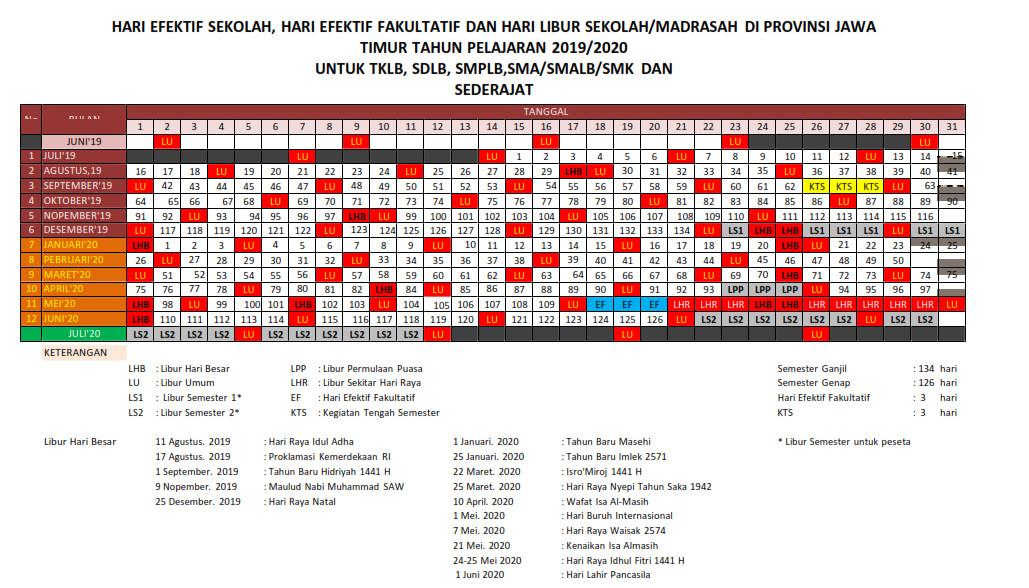 Kalender Pendidikan Provinsi Jawa Timur Tahun Ajaran 2019-2020