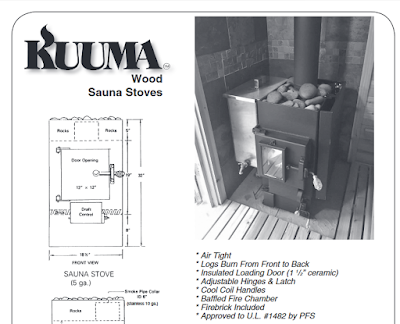 Sauna stove too right next to wooden duck board.