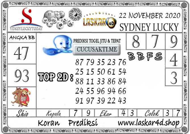 Prediksi Sydney Lucky Today LASKAR4D 22 NOVEMBER 2020