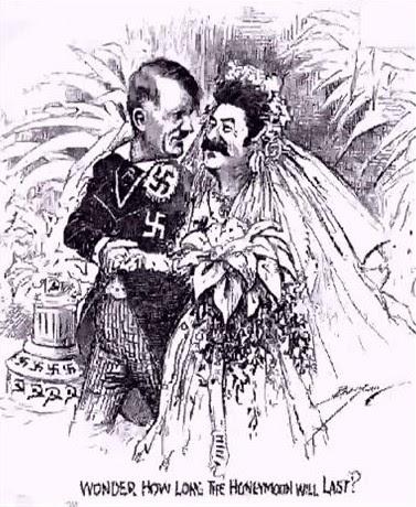 Meme de humor sobre el pacto Molotov-Ribbentrop en la Segunda Guerra Mundial