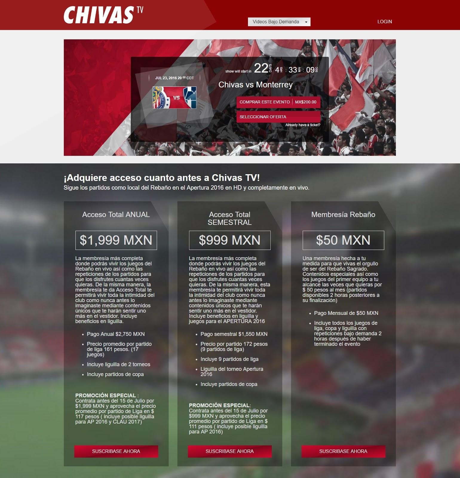 Del sitio de Chivas TV.