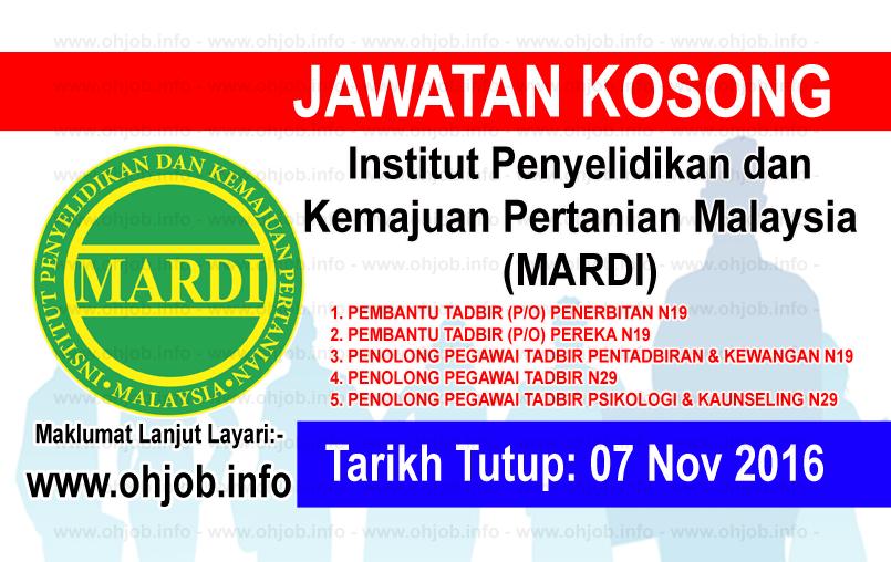 Jawatan Kerja Kosong Institut Penyelidikan dan Kemajuan Pertanian Malaysia (MARDI) logo www.ohjob.info november 2016