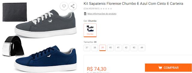 Kit Sapatenis Florense Chumbo E Azul Com Cinto E Carteira