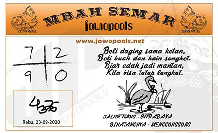 Syair Mbah Semar HK Rabu 23 September 2020