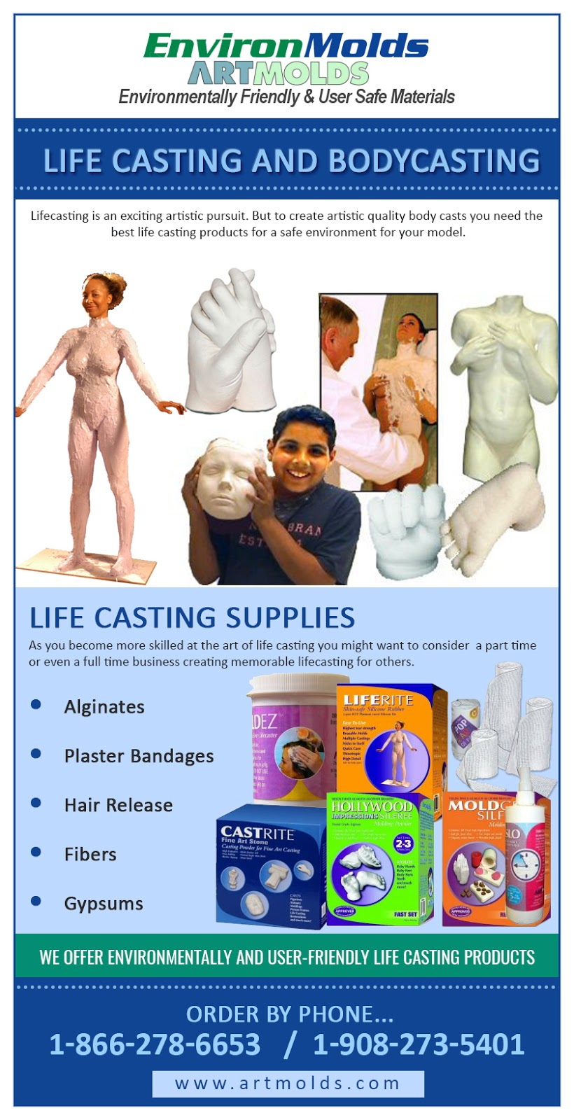 Mold making and Casting products through EnvironMolds, LLC: 2019