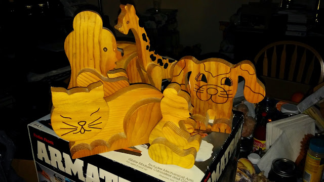 Scroll Saw Layered Wood Toy Animals, Cat, Giraffe, Puppy, Cat, I cut with my AMT