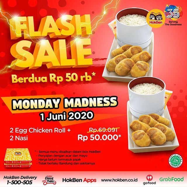 #Hokben - #Promo Flash Sal e Monday Madness 2 porsi Egg Chicken Roll + 2 Nasi (1 Juni 2020)