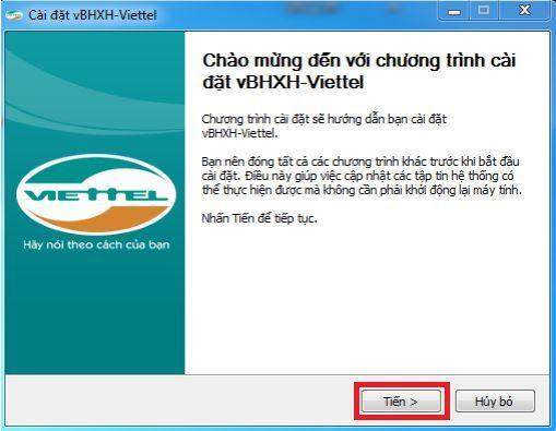 Hình 1 - Bắt đầu cài đặt phần mềm vBHXH của Viettel