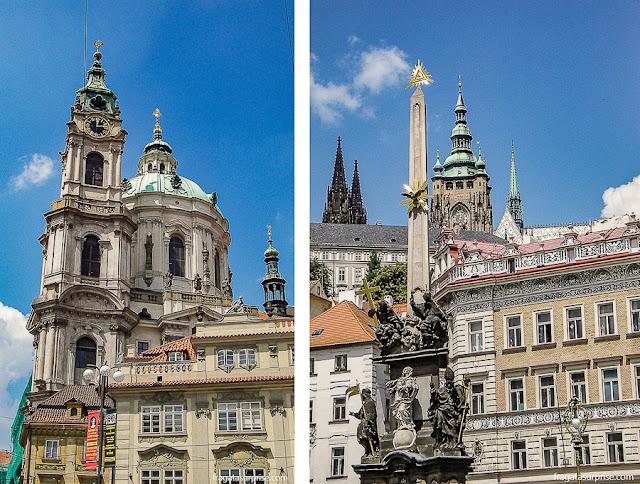 A Igreja de São Nicolau e a Coluna da Santíssima Trindade em Mala Strána, Praga