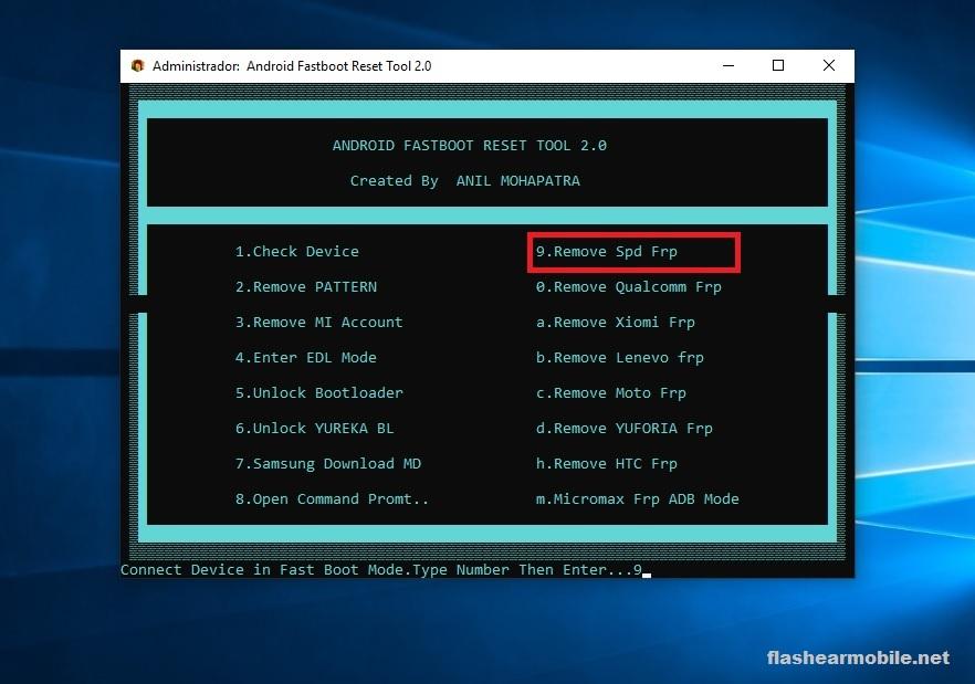 Quitar cuenta de google Spreadtrum Android Fastbooot Reset Tool
