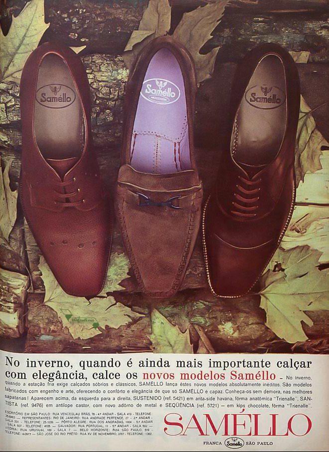 Propaganda antiga da Samello apresentando seus modelos de sapatos na década de 60