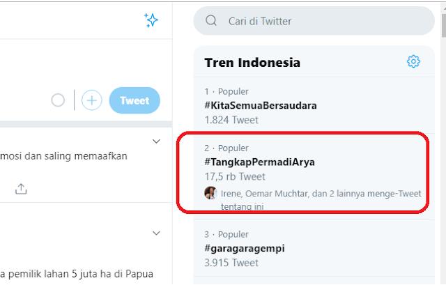 tangkap permadi arya trending