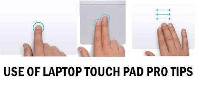 Touch pad use of laptop