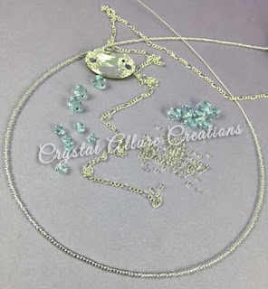 Custom Prom Jewelry design elements, Owlet Crystal, Light Azore Swarovski Crystal. Photo Credit: Crystal Allure Jewelry Creations