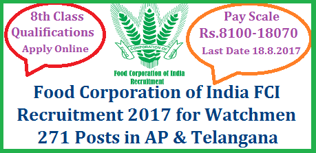 FCI Watchman Recruitment 2017 Apply Online @www.fciregionaljobs.com for Food Corparation of India  271 Jobs with 8th Qualifications Food Corporation of India FCI Invites Online Application for 271 Watchman Vacancies in AP and Telangana Region. Aspirants with 8th qualifications may download Notification from www.fcireginaljobs.com and go through the required qualifications and eligibilites. Govt Jobs with low qualifications in AP and TS from an Indian organisation. SO Unemployed job seekers across AP and Telangana  discussed here FCI Recruitment 2017 read notification and submit Online application form carefully food-corporation-of-india-fci-watchman-recruitment-2017-apply-online-fcireginaljobs