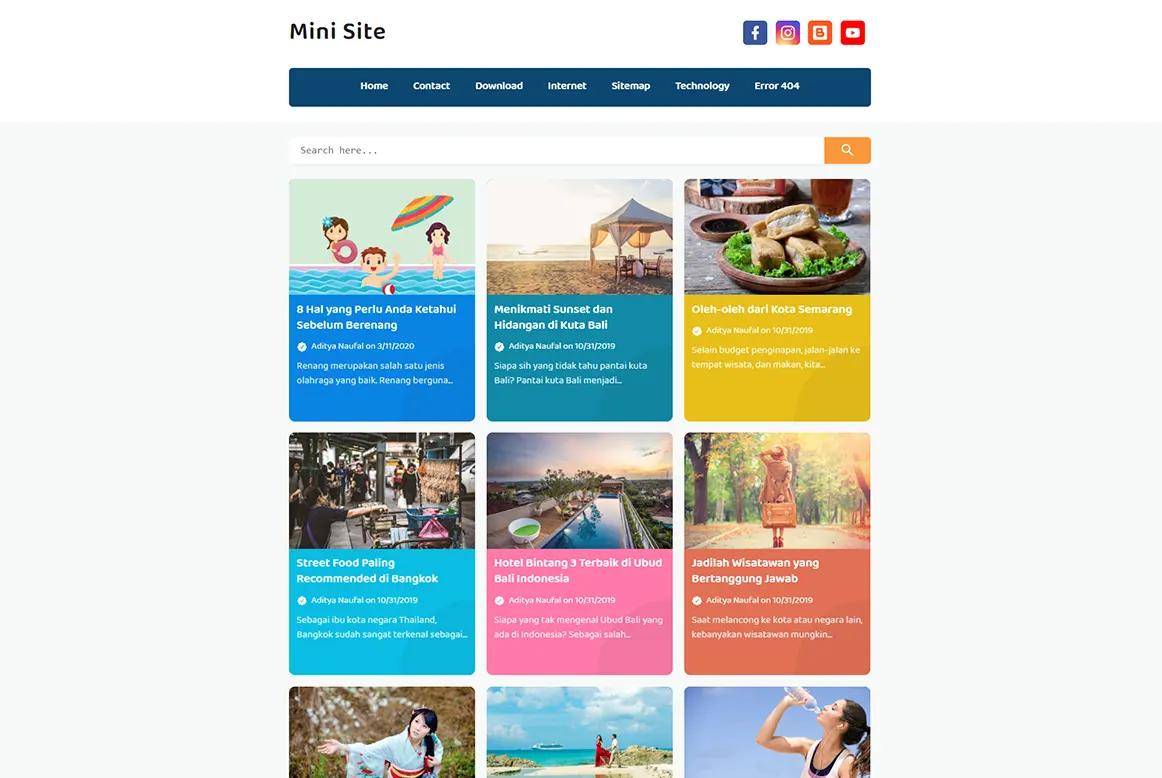 Mini Site Colourful Grid Variant