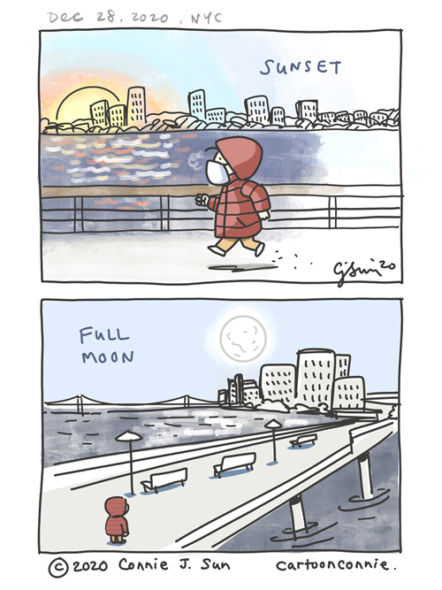 Comic illustration page of a sunset and full moon in New York City, by Connie Sun, cartoonconnie