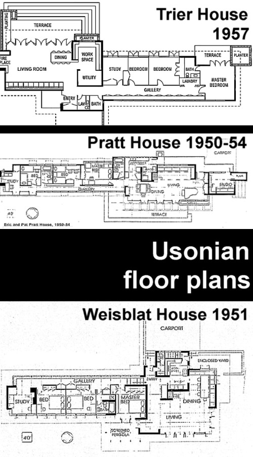 Art now and then wright 39 s usonian houses for Usonian house plans for sale