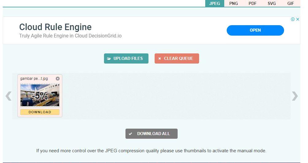 mengecilkan ukuran foto online di Compress JPG