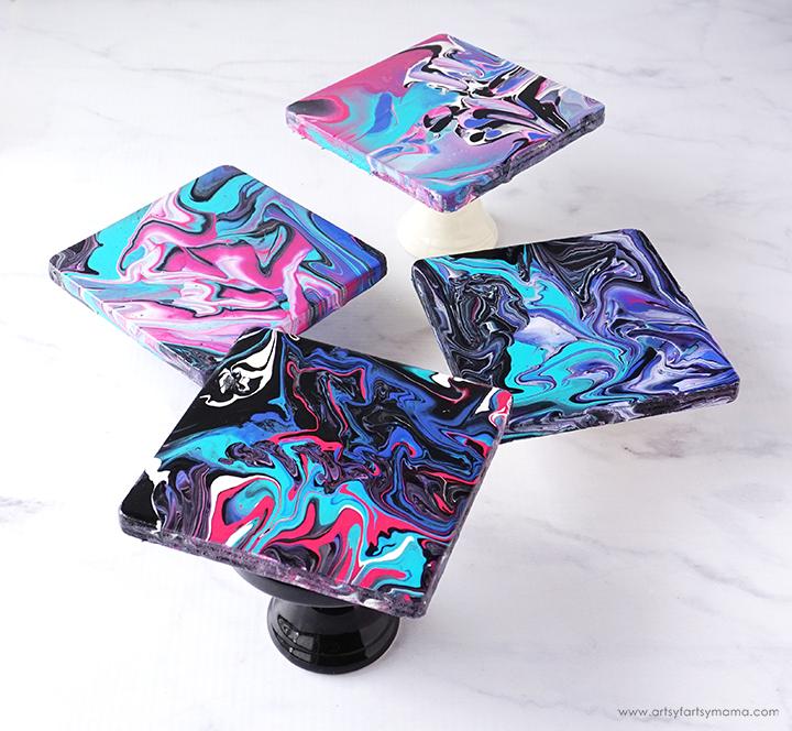 Paint Pour Marble Coasters