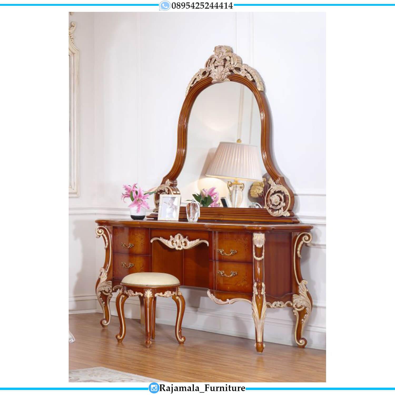 Desain Meja Rias Mewah Natural Jati Classic Furniture Jepara Terbaru RM-0483