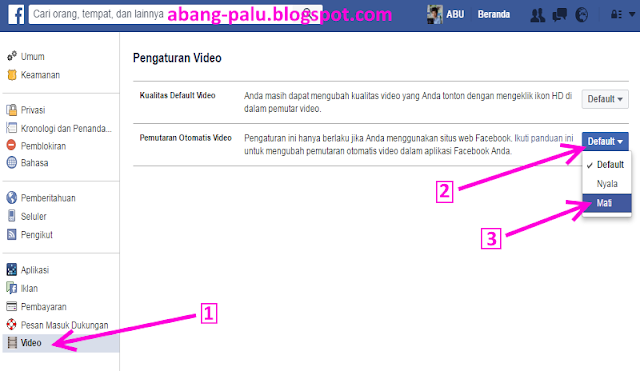 mengatur video facebook agar tidak autoplay