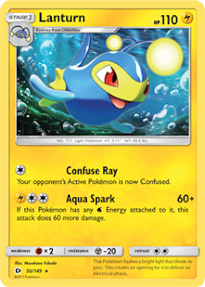Lanturn Sun and Moon Pokemon Card