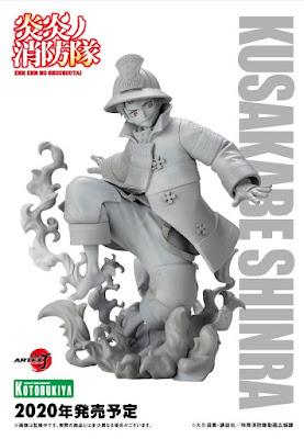 """Figuras: Muestran los protoripos de los  ARTFX J de Shinra Kusakabe y Tamaki Kotatsu de """"Fire Force"""" - kotobukiya"""