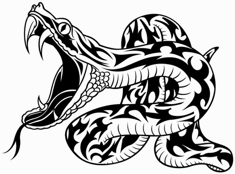 Snake attacks tattoo stencil