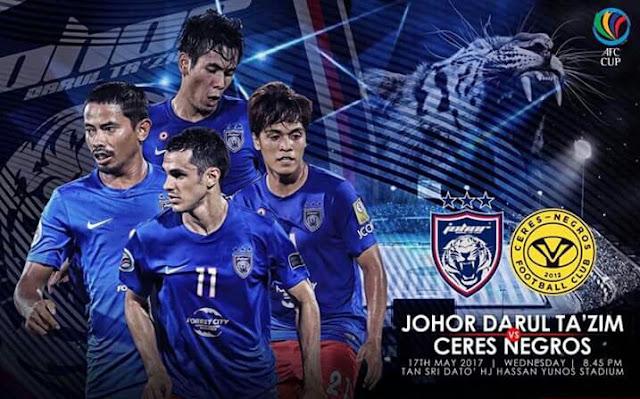 Live Streaming JDT vs Ceres Negros 17.5.2017 Piala AFC