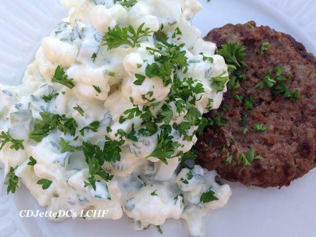 CDJetteDCs opskrift på lun eller kold blomkålssalat - aka kartoffelsalat