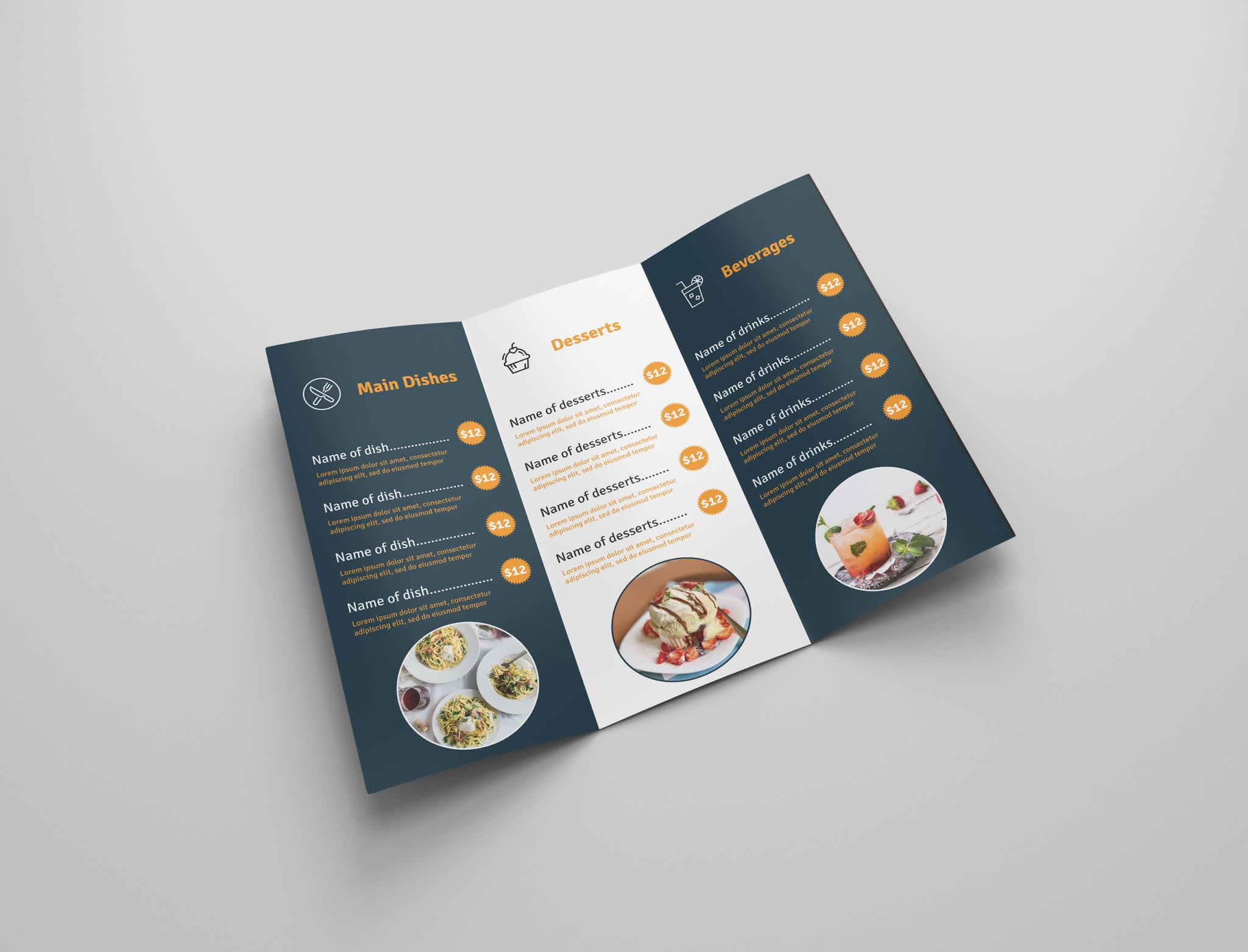 Download a free open source food brochure, free food menu, free download 2