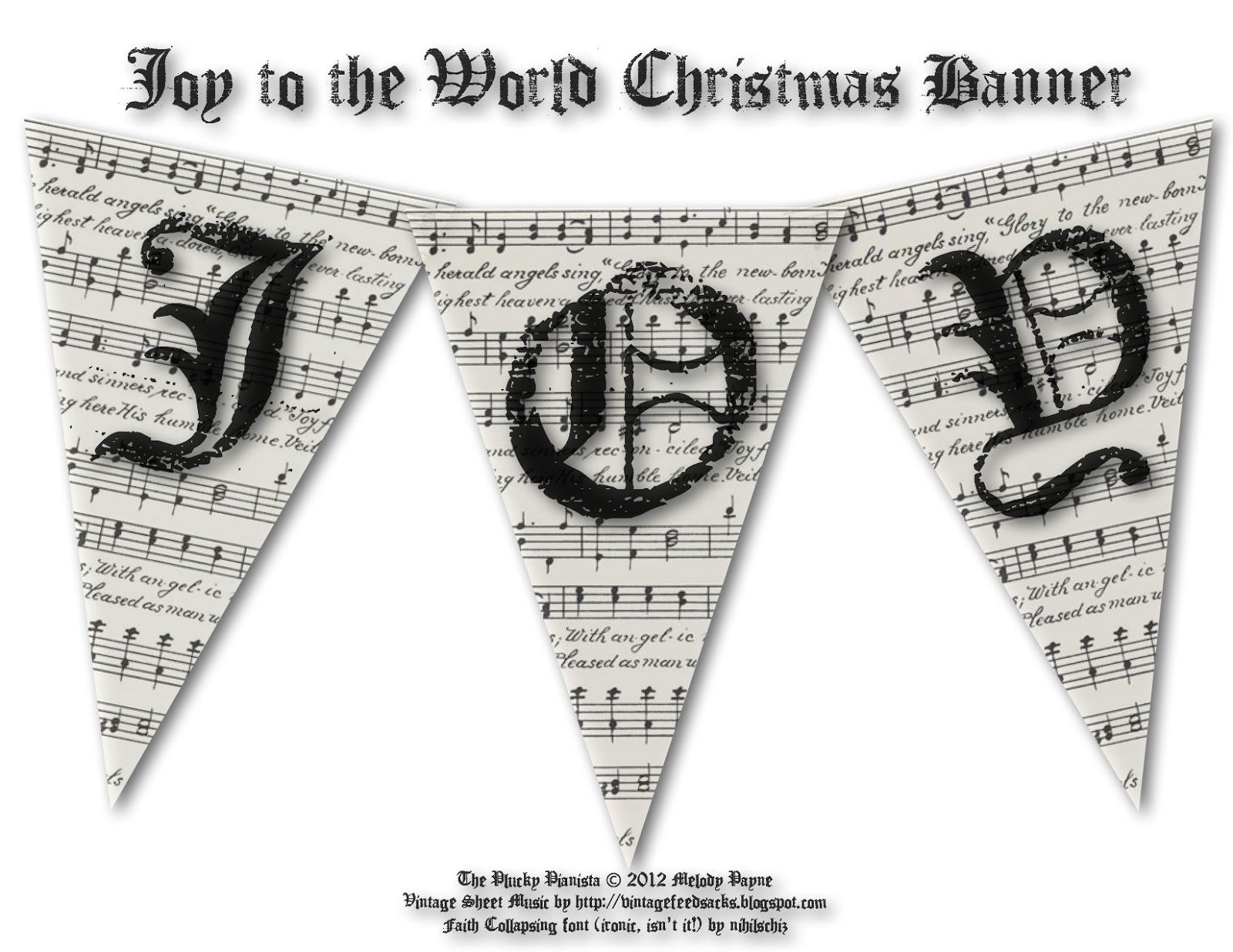Joy To The World Vintage Christmas Banner Printable