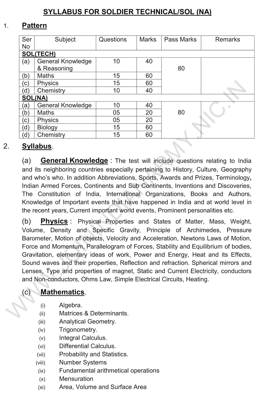 indian army technical syllabus