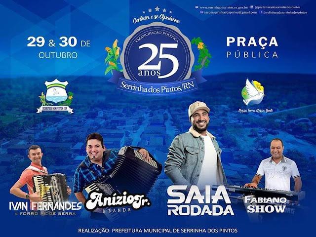 Vários atrações animarão a Tradicional Festa de Emancipação Política de Serrinha dos Pinto/RN
