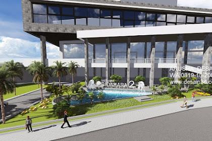 Desain Taman Asri Kolam Air Mancur Depan Hotel